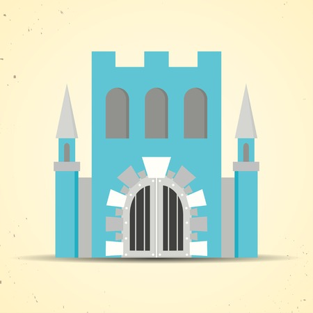 Color flat icon with castle with shadow for web and mobile applications