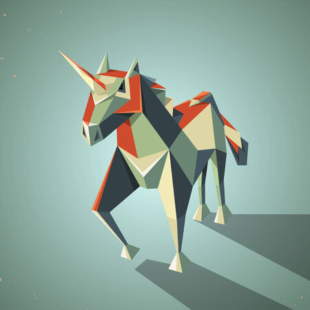 chastity: Illustration of a three dimensional origami magic unicorn with horn made from folded paper in the Japanese tradition, geometric pattern and design Illustration