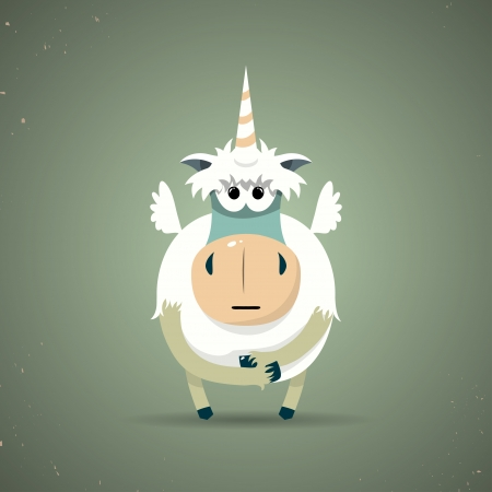 fable: Cartoon illustration of a cute little mythical magic unicorn with a spiral horn and white body symbolic of virginity, chastity and purity
