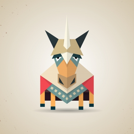 chastity: Illustration of a cute origami magic unicorn with horn made from folded paper in the Japanese tradition standing facing the camera, geometric pattern and design