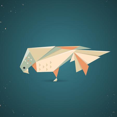 Kolorowe origami lub gołąb gołąbek z złożonego papieru w tradycji japońskiej z geometryczny wzór na niebieskim tle