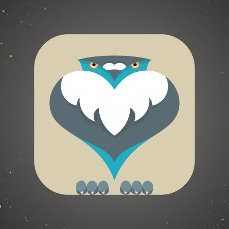 paloma caricatura: Ilustración vectorial de una pequeña paloma linda con volantes azul y gris de dibujos animados o icono paloma aislada en un fondo de color marrón neutral
