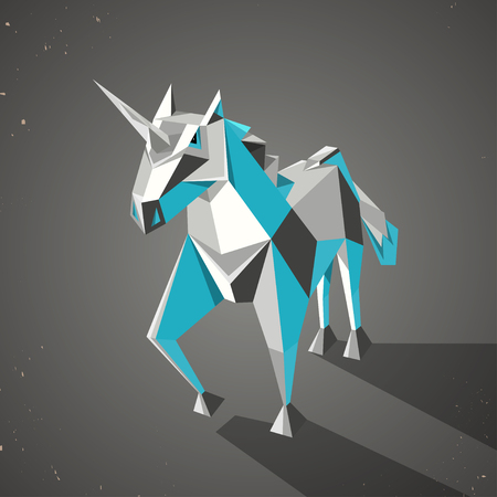 chastity: Illustration of a three dimensional origami magic unicorn with horn made from folded paper