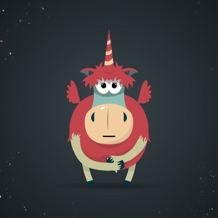 virginity: Cartoon illustration of a cute little mythical unicorn with a spiral horn and red body symbolic of virginity