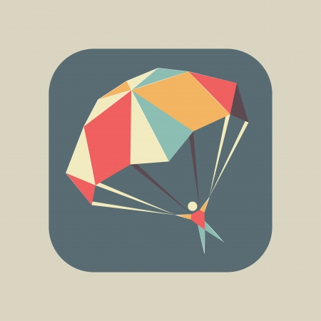 Abstract flat geometric icon with a skydiver flying with an open parachute, symbol of extreme sports, fun or safety Vector