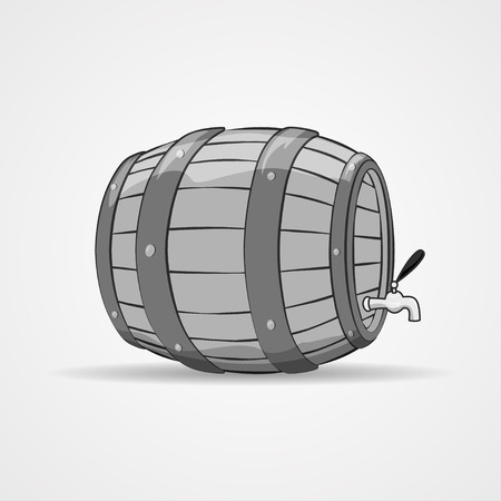 Illustration of an old wooden barrel filled with natural wine or beer, on white, in vintage style. Beer keg. Vector
