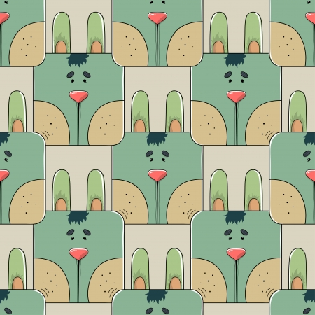 Seamless stylized repeat pattern of the face of a cute cartoon rabbit in a geometric design  Vector