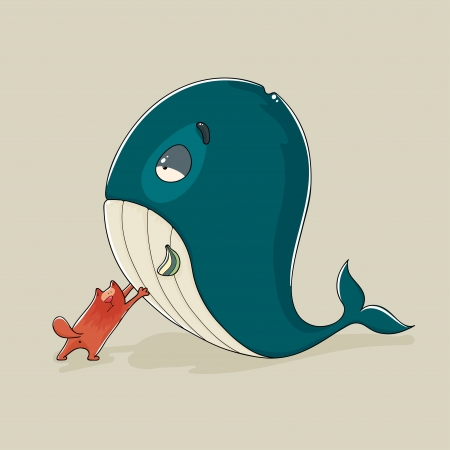 Cartoon illustration of a cute cat with a sickly or dead whale trying to push it upright or prop it up either out of friendship for an animal in need or because it anticipates a gigantic fish dinner Vector