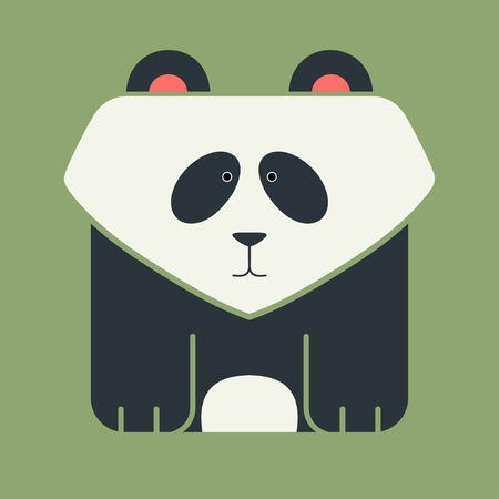 Flat square icon of a cute giant panda, Asian black-and-white bear, on green background