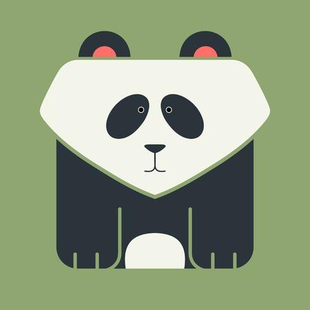 �  giant panda: Icono plana cuadrada de un gigante lindo panda, oso asi�tico blanco y negro, sobre fondo verde Vectores