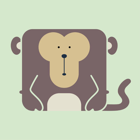Flat square icon of a cute brown monkey on green background Vector