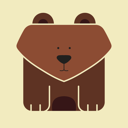 broun: Flat square icon of a cute broun bear on yellow background Illustration