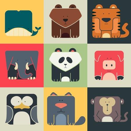 かわいい動物の平らな正方形のアイコンの背景の色に設定します。Wildeness と自然のロゴ