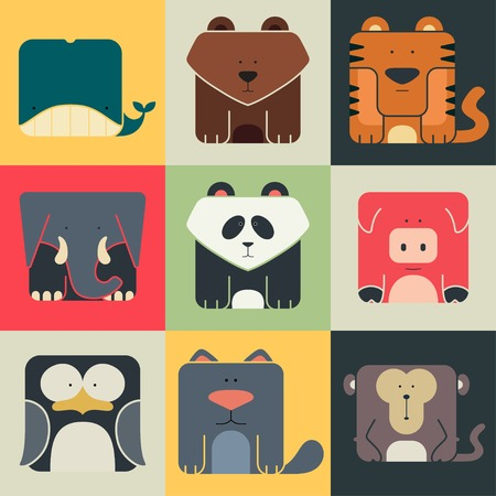 Set flat square icons of a cute animals on color background. Wildeness and Nature logos Vector