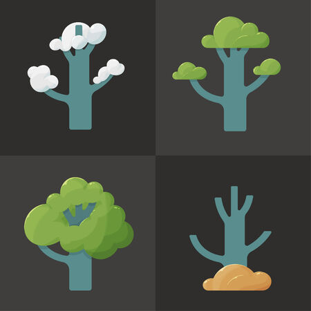 Flat icon illustration of a tree with branches in different seasons, symbol of nature and development, on dark background