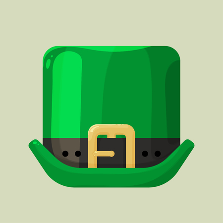 leprechaun hat: Shiny green leprechaun hat with a buckle in cartoon style on a bright yellow background, accessory for St. Patricks Day