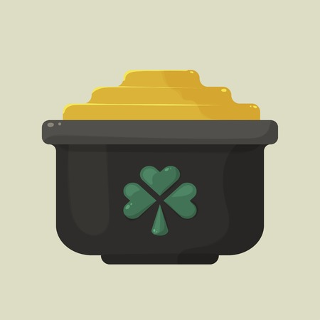 Stylized shiny cartoon pot of gold with a green shamrock on the side, a symbol of St. Patricks Day on a uniform bright yellow background Vector