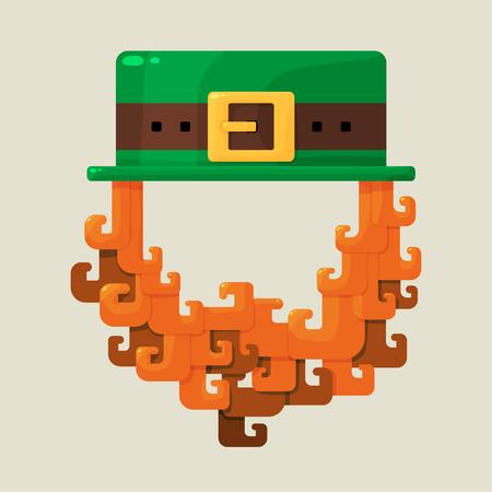 patron saint of ireland: Irish St. Patricks Day leprechaun icon with a symbolic green hat and bushy red beard celebrating the patron saint of Ireland