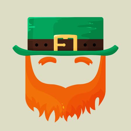 Irish St. Patricks Day leprechaun icon with a symbolic green hat and bushy red beard celebrating the patron saint of Ireland