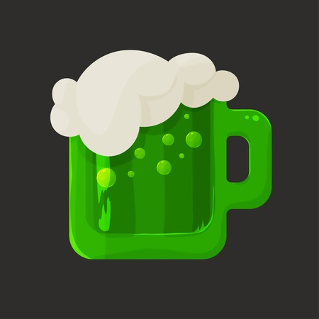 foam bubbles: Stylized shiny glass mug with green beer and foam bubbles on a dark background, the icon for Saint Patricks Day Illustration