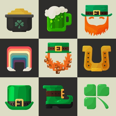 Set of shiny flat icons on a plain background, a symbol of good fortune and wealth, the icon for Saint Patricks Day Vector