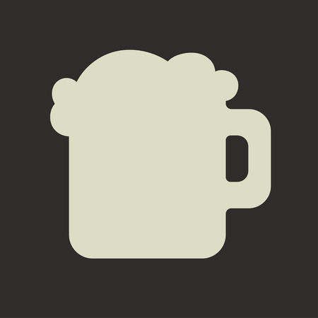 Stylized silhouette of glass mug with beer and foam on a dark background, the icon for Saint Patricks Day Vector