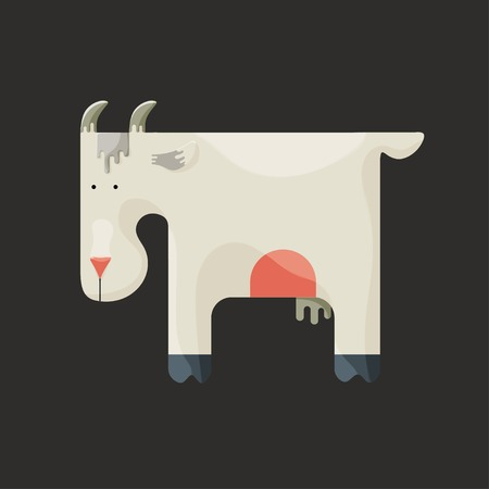 Cute white square-shaped goat with small horns and udder standing sideways on a dark background, stylized farm animal Vector