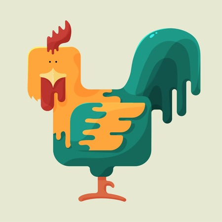 sideways: Cute color square shaped rooster with red crest, standing sideways on a light yellow background