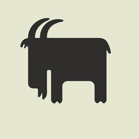 Silhouette of cute square-shaped goat with horns standing sideways on a light yellow background Vector