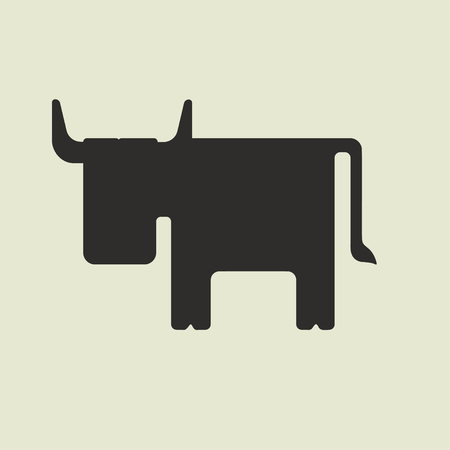 sideways: Silhouette of cute cartoon bull with horns facing sideways on a light yellow background Illustration