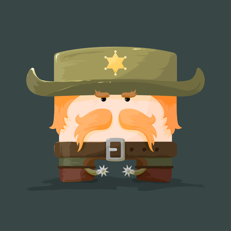lawman: Wild west.  Cartoon styled sheriff with mustaches and hat