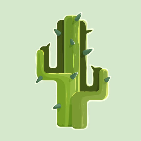 waterless: The green cartoon styled cactus in a desert isolated on white background with thorns