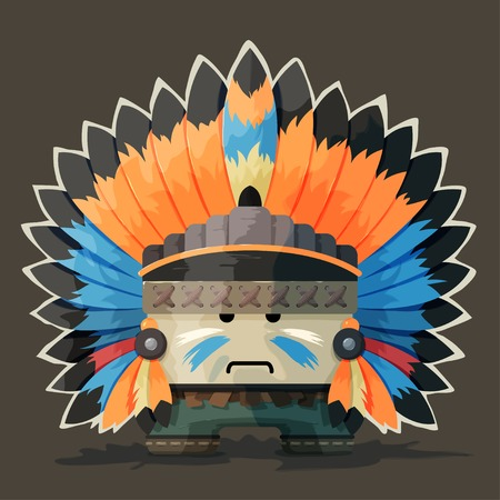 chieftain: Illustrazione di un indiano d'America nel selvaggio west. Colorful capo con piume intorno alla testa Vettoriali