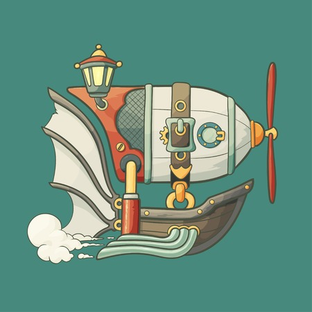 Cartoon steampunk styled flying airship with baloon, lantern and propeller on green plain background
