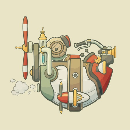 Cartoon steampunk styled flying airship with wheel, gears and propeller on light plain background Illustration