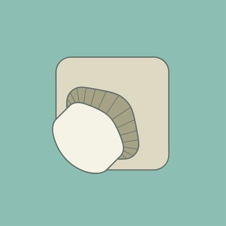 button mushroom: Stylized illustration mushroom icon. Isolated on stylish color background. Elements in flat design.