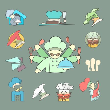 caffe: Restaurant Chef flat icon Set. icon isolated on plain background. Concept for business, caffe, cookng, food, restaurant, eating.