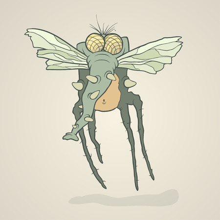 proboscis: Illustration monster fly with long legs, wings and proboscis. Hand drawing cartoon. The concept of the character on a uniform background. Illustration
