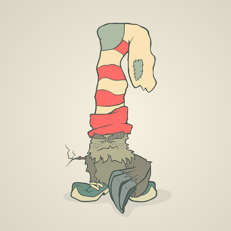 second hand: Vector illustration monster with a sock or stocking on his head with large claws on the paw and the branch instead of the second hand. Hand drawing cartoon. The concept of the character on a uniform background.