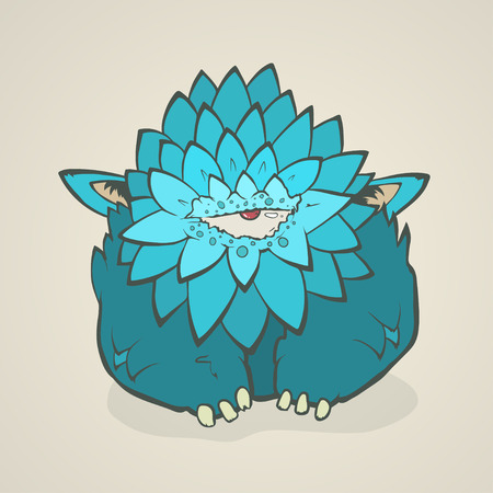 one eye: Vector illustration of a cartoon blue thick monster with one eye and feathers, claws and ears.  Hand drawing cartoon. The concept of the character on a uniform background. Illustration
