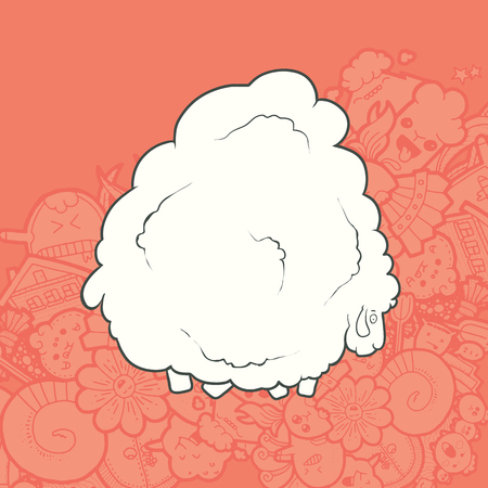 whose: Vector Illustration Cute Hand Drawn Sheep whose wool is very much. Greeting card New Year. The concept of the character on abstract Kawaii background.