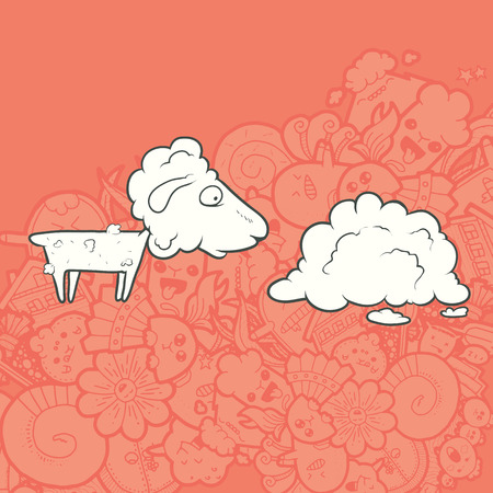Vector Illustration Cute Hand Drawn shorn lamb looking at its coat. Greeting card New Year. The concept of the character on abstract Kawaii background.