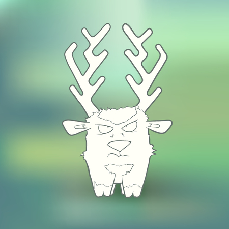 Vector Illustration Hand Drawn angry deer with long horns on abstract blurred green background. The concept of Cartoon cute character for greeting card or invitation Illustration