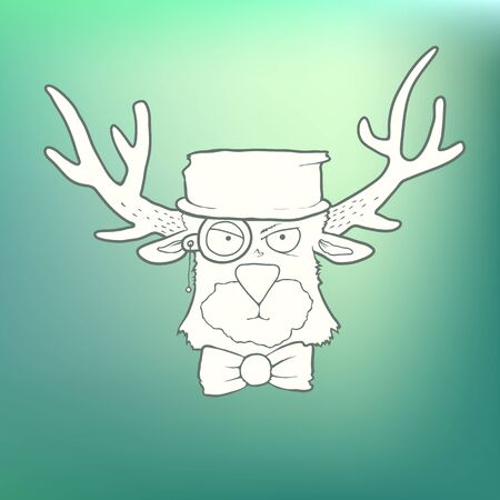 displeased: Vector Illustration Hand Drawn cute head of the hipster deer with horns, hat, bow tie and monocle on abstract blurred green background. The concept of Cartoon cute character for greeting card or invitation
