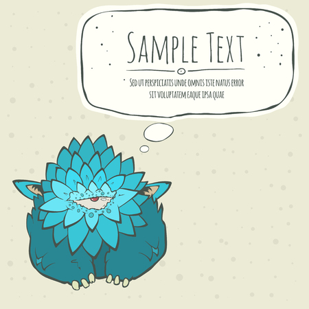 one eye: Vector illustration of a cartoon cute blue monster with feathers, one eye and ears. Hand drawn cartoon. Greeting card with speech bubble. The concept of the character on a uniform background. Illustration