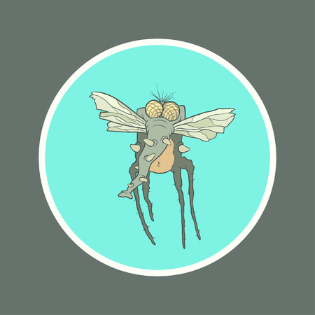 proboscis: Illustration monster fly with long legs, wings and proboscis in the circle. Hand drawing cartoon. The concept of the character on a uniform background.