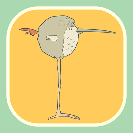 wader: Illustration of hand drawn retro bird. Vector cartoon. The concept of the character on flat square background.