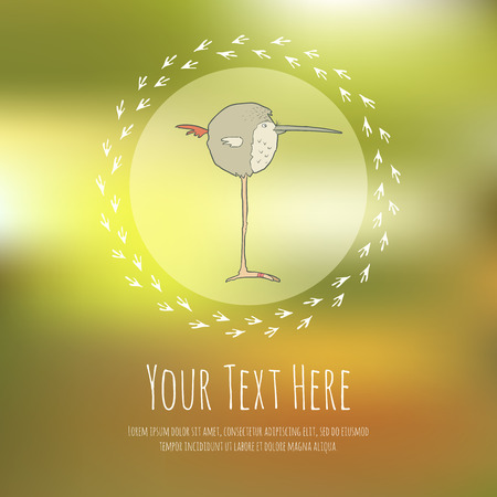 wader: Illustration of hand drawn retro bird. Cute vector cartoon. The concept of the character on blurred background. Greeteng or invitation card with place for your text.