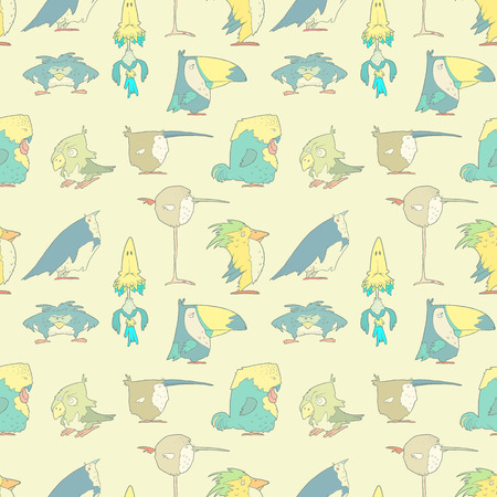 paper people: Hand Drawn Birds Seamless Background for design and scrapbook in vector. Funny colorful cartoon cute birds pattern.