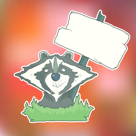 clip art icon: Cartoon Character  Racoon with wooden poster Isolated on Color Blurred Background. Hand drawn vector. Funny Farm Anymals for greeting cards and invitings.